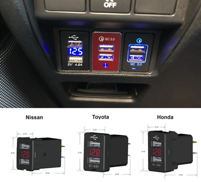 Fast Charging QC3.0 USB Phone Charger For TOYOTA