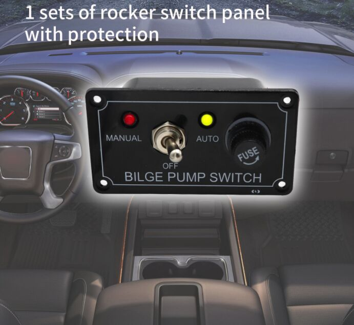 12V single rocker switch panel with protection Manual-Off-Auto for car marine bus