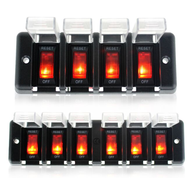 6 Gang 12V Circuit Breaker Rocker Switch Panel with led indicator waterproof cover