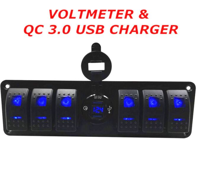 6 Rocker Switch Panel With QC3.0 Fast Usb Car Charger and Voltmeter For 12-24V Vechicle Yacht Ship Caravan Bus