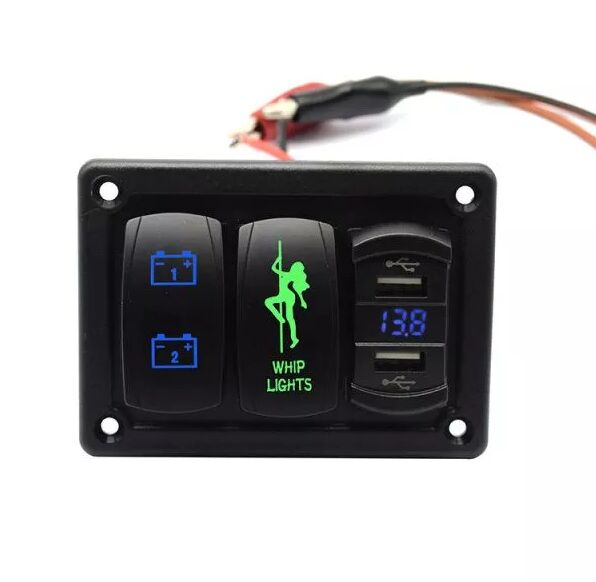 2 Gang Led Switch Panel with 4.2 Amps Dual USB Fast Charger Socket Built in Voltmeter for Marine Boat Car Truck
