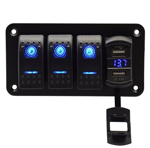 Marine Car RV 3 Rocker Switch Panel Plastic Panel Dual Usb Car Phone Charger and Voltage Display