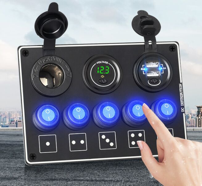 5 Gang 12-24V Car Toggle Switch Panel With Cigarette Lighter Socket Voltage Meter and Dual Usb Car Charger